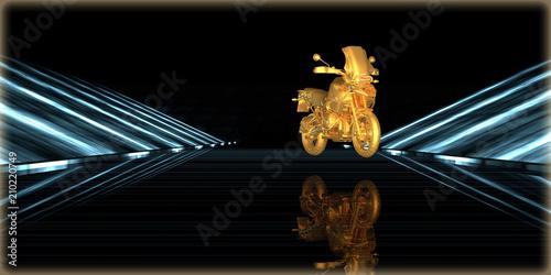 Keuken foto achterwand Fiets 3d rendering of a golden object inside a futuristic road