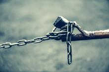Closed Padlock On Chain Of Bro...