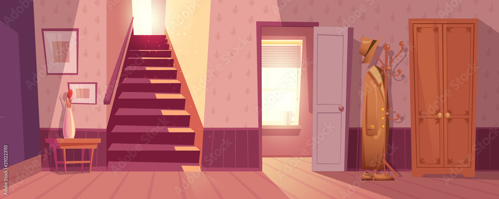 Fototapety, obrazy: Room interior vector illustration of retro corridor or hallway entrance with furniture. Cartoon flat background of apartment stairs, coat and hat on hanger, shoe drawer and flower in vase on table