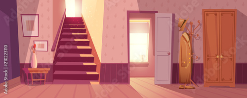 Carta da parati Room interior vector illustration of retro corridor or hallway entrance with furniture