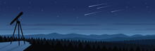Forest At Night And Space Observation Landscape Scene