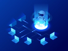 Isometric Concept Of Artificial Intelligence Controls Computers Or Internet, Digital Network. Chatbot, Video Broadcast, Stories, SMM Promotion, Online Analytics. Technology Web Virtual Background
