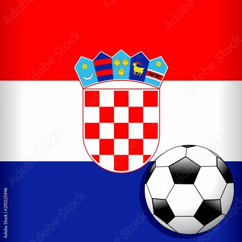 In de dag Draw Croatia Flag with Soccer Ball Football WorldCup