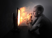 Chained To Flaming Computer