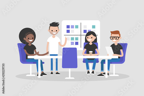 Workshop training. Modern office. Millennials at work. Discussing the strategy of the company. Business meeting. Flat editable vector illustration, clip art