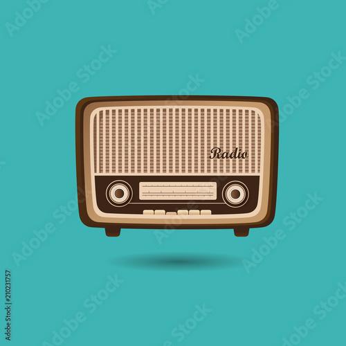 Retro radio design with green background, unique and creative