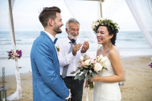 Fotografie, Obraz  Young Caucasian couple's wedding day