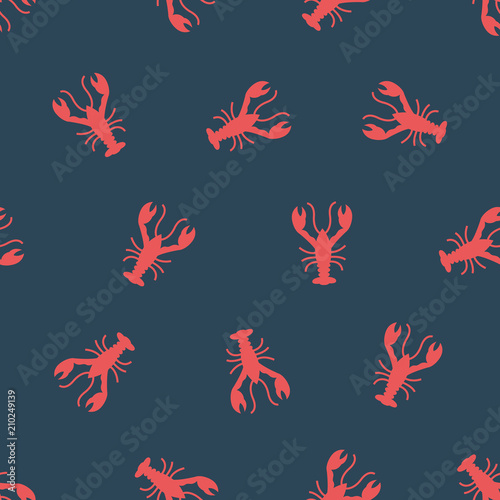 Photo  Vector pattern with crayfish