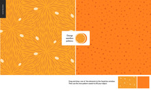 Food Patterns, Summer - Fruit, Orange Texture, Small Half Of An Orange Image In The Center - Two Seamless Patterns Of The Orange Pulp Full Of White Seeds And Rind With Little Holes, Orange Background