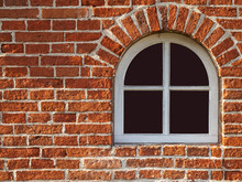 Old Arch Window In Bricks Wall...