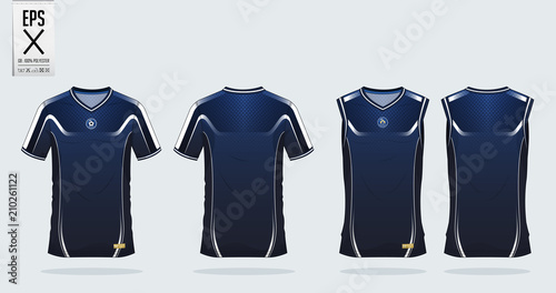 8c261e79 Blue and white t-shirt sport design template for soccer jersey, football kit  and tank top for basketball jersey. Sport uniform in front and back view.