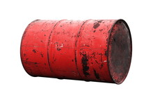 Barrel Oil Red Old Isolated On...