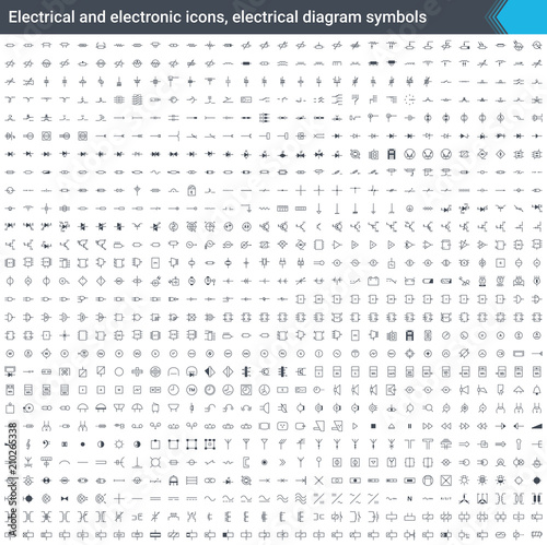 Fotografía  Electrical and electronic icons, electrical diagram symbols