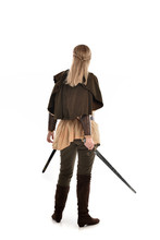 Full Length Portrait Of Girl Wearing Medieval Costume With Sword. Standing Pose With Back To The Camera, Isolated On White Studio Background.