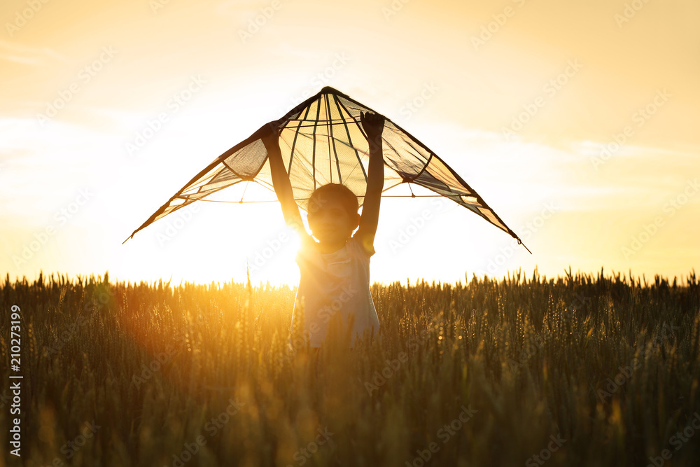 Fototapety, obrazy: Cute little girl with kite in field