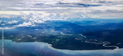 Aerial view to Madang province Papua New Guinea