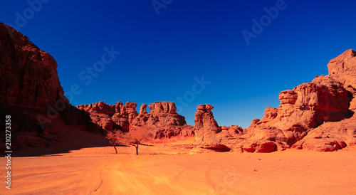 Photo Landscape of sand dune and sandstone nature sculpture at Tamezguida in Tassili n