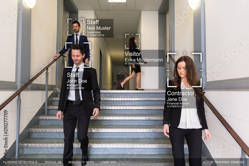 Fotografie, Obraz  Group Of Businesspeople Identified By AI System