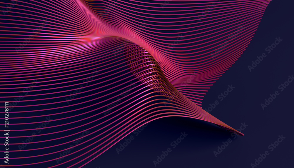 Fototapety, obrazy: Abstract 3d rendering of smooth surface with lines. Striped modern background design for poster, cover, branding, banner, placard