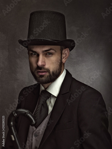 Photo Englishman and gentleman. Retro styled male portrait