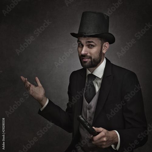 Englishman and gentleman. Retro styled male portrait Wallpaper Mural