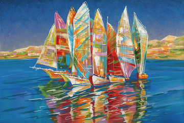 FototapetaAn oil painting on canvas. Autumn regatta. Author: Nikolay Sivenkov.