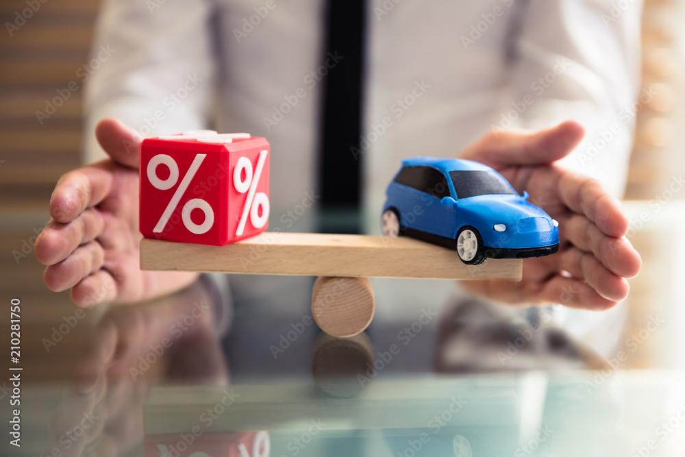 Fototapeta Protecting Balance Between Percentage Symbol And Car