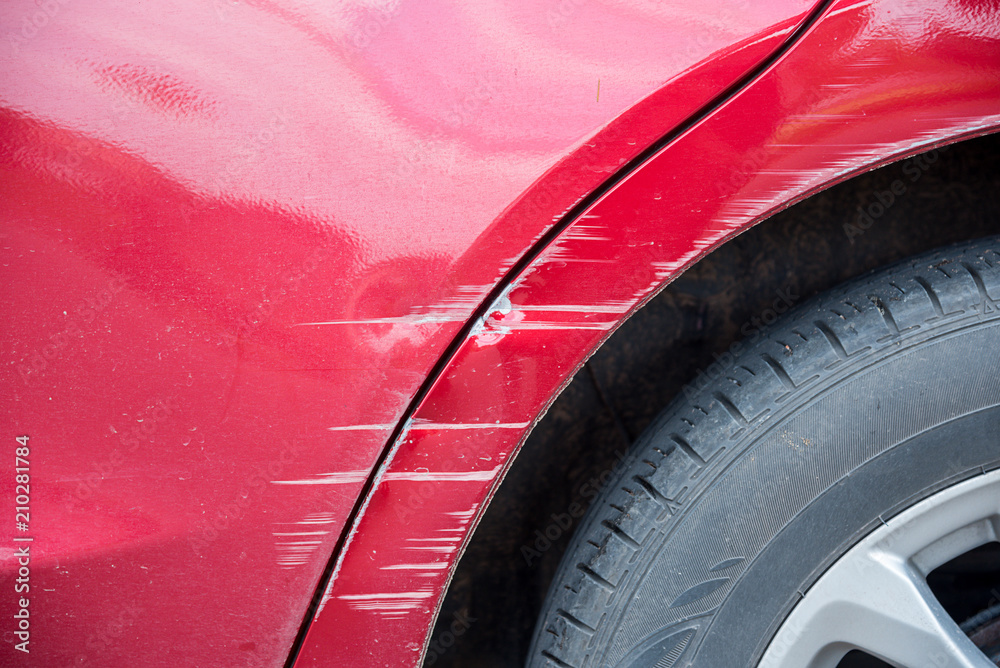 Fototapety, obrazy: scratched on red car by the accident