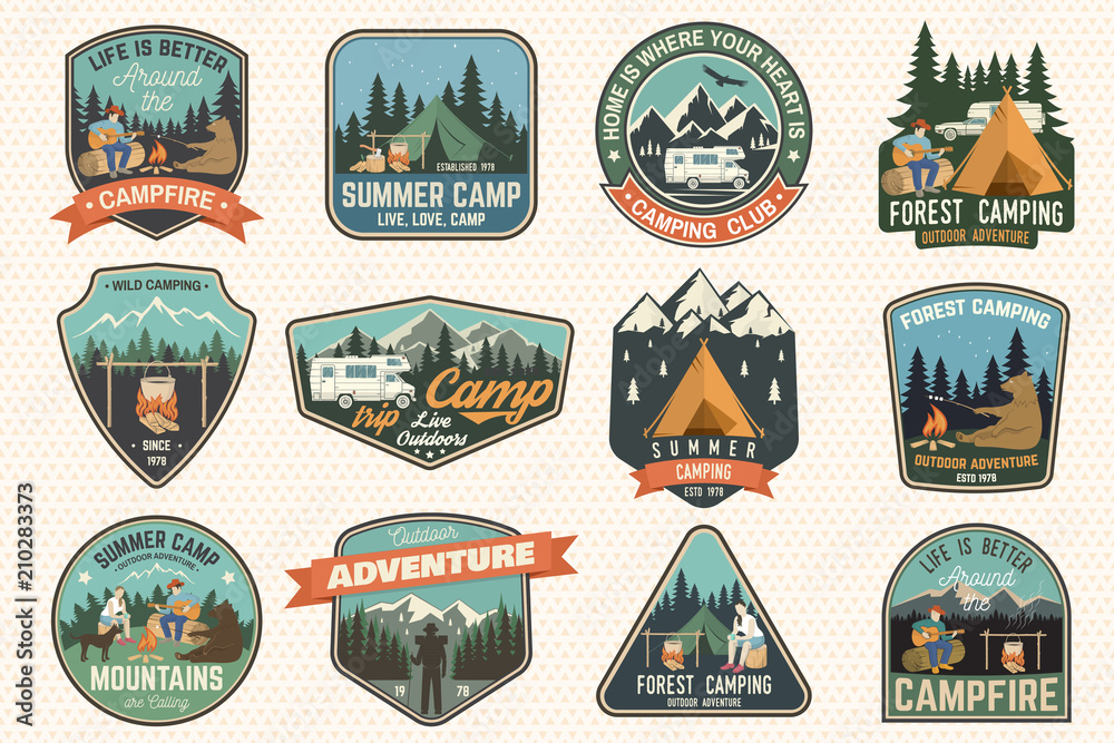Fototapeta Set of Summer camp badges. Vector. Concept for shirt or logo, print, stamp, patch or tee.