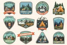 Set Of Summer Camp Badges. Vec...