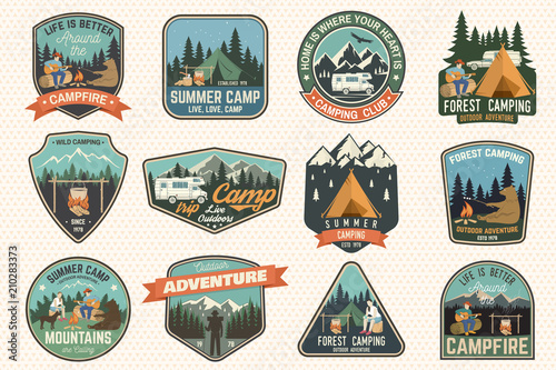 Fotomural Set of Summer camp badges
