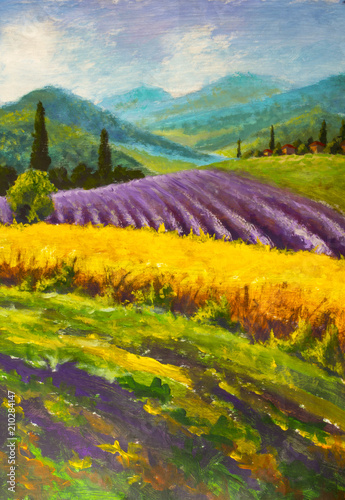Oil painting Italian summer countryside Wallpaper Mural