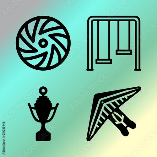 Keuken foto achterwand Groene koraal Vector icon set about fitness and sport with 4 icons related to design, grass, first, goal and glider
