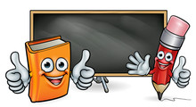 Book And Pencil Mascots And Bl...