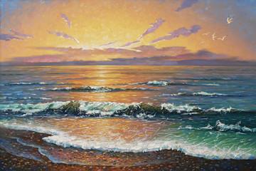 Fototapeta Artwork. Sunset at the sea. Author: Nikolay Sivenkov.