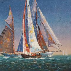 Fototapeta Oil painting on canvas. Raised sails. Author: Nikolay Sivenkov.