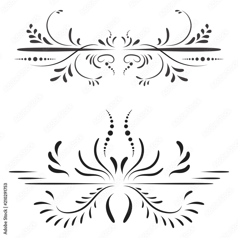 Fototapety, obrazy: Elegant black ornament on a white background in a classic style