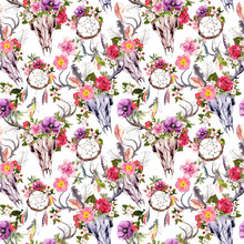 Deer Skulls With Flowers And Dreamcatchers. Seamless Pattern. Watercolor