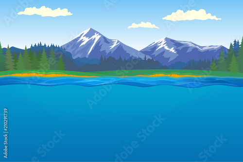 Foto op Canvas Pool Beautiful horizontal landscape with forest and mountains on background and lake with underwater on foreground