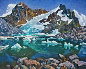 Fototapeta Teberda Reserve, mountain lake. An oil painting on canvas. Author: Nikolay Sivenkov.