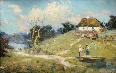 Panel Szklany Wiejski landscape, oil painting, hand made