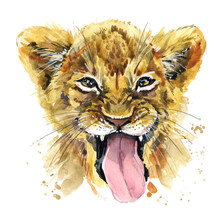 Funny Lion Watercolor Hand Dra...