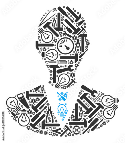 Manager composition of repair tools. Vector manager icon is designed of gears, screwdrivers and other technical items. Concept of technical job. Wall mural