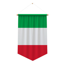 Italy Flag Cloth Hanging Banner. 3D Rendering