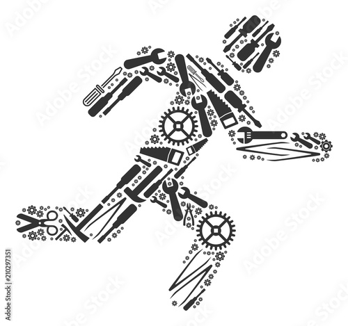 Running man collage of workshop instruments. Vector running man icon is made of gearwheels, wrenches and other equipment objects. Concept of maintenance job. Wall mural