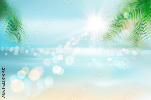 Foto auf AluDibond Licht blau View of a tropical beach. Vector Illustration.