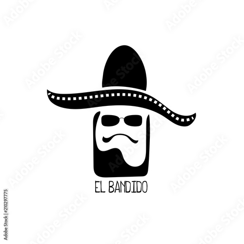 Photo  El bandido vector logo with man head in sombrero