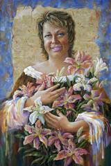 Fototapeta An oil painting on canvas. Birthday of Olga. Author: Nikolay Sivenkov.
