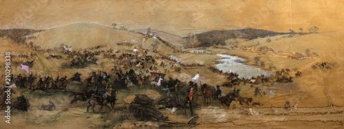 Valokuva battle picture, landscape, oil painting