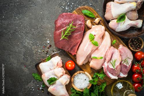 Door stickers Meat Fresh meat assortment - beef, pork, chicken.